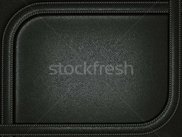 Black leather background with stitched rounded frame Stock photo © Arsgera