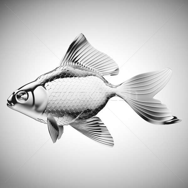 Silver fish with fins and scales on gradient gray Stock photo © Arsgera
