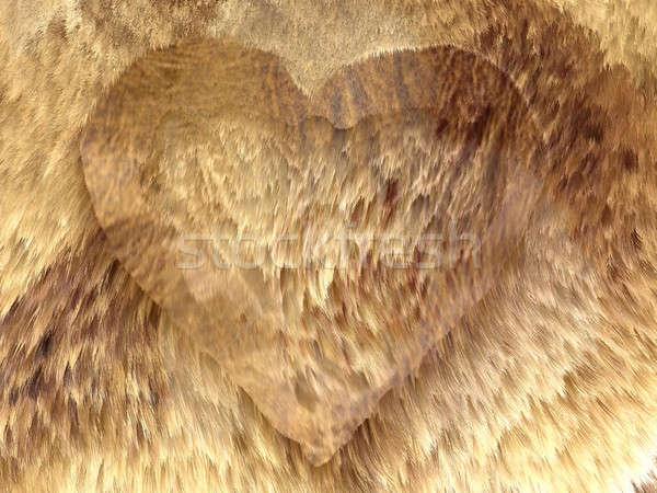 Heart shape on fox fur pattern Stock photo © Arsgera