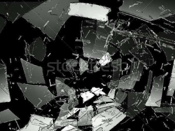 Pieces of Destructed or Shattered glass on black Stock photo © Arsgera