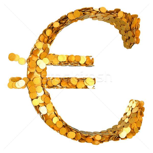 Złoty euro waluta pieniężnych symbol monet Zdjęcia stock © Arsgera