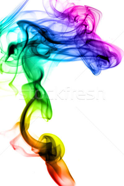 Magic colorful fume swirl on white Stock photo © Arsgera