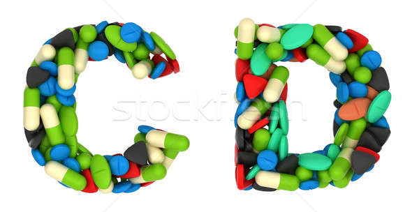 Healthcare font C and D pills letters Stock photo © Arsgera