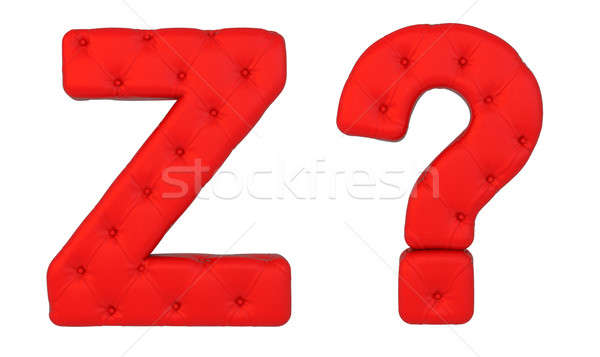 Luxury red leather font Z and query mark Stock photo © Arsgera