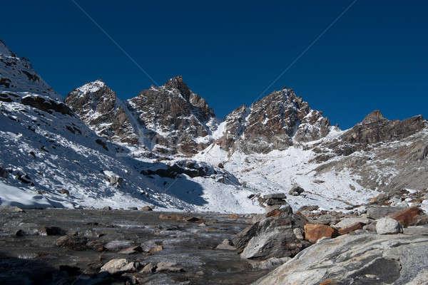 Renjo pass: mountain peaks and stream in Himalayas Stock photo © Arsgera