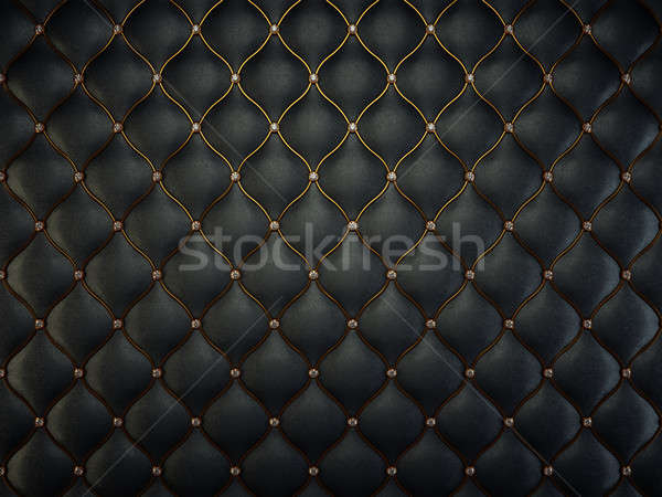 Black leather pattern with golden wire and gems Stock photo © Arsgera