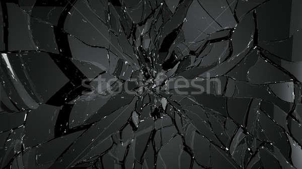 glass shatter and breaking on black Stock photo © Arsgera