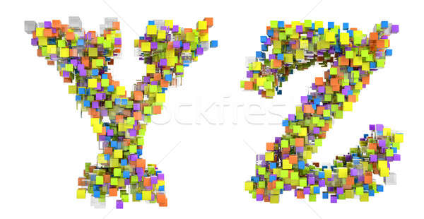 Abstract cubic font Y and Z letters Stock photo © Arsgera