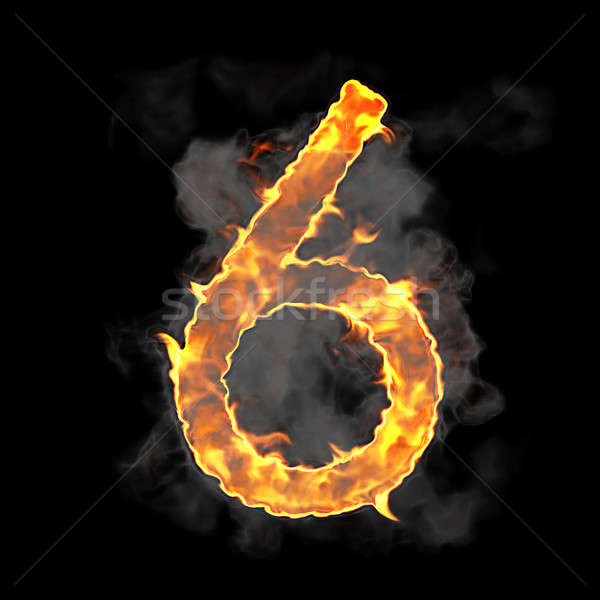 Burning and flame font 6 numeral  Stock photo © Arsgera