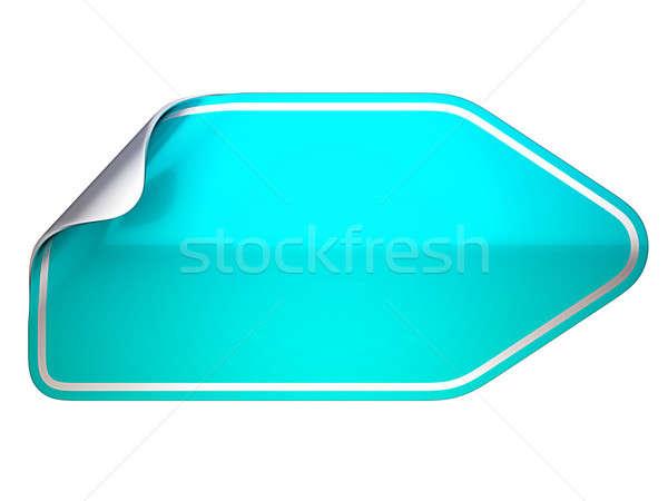 Turquoise bent sticker or label on white  Stock photo © Arsgera