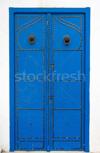 Tradicional azul porta ornamento Tunísia parede Foto stock © Arsgera