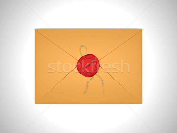 Private Letter sealed with red sealing wax Stock photo © Arsgera