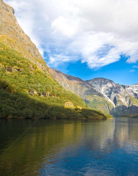Norwegian fjords in autumn: Mountains and sky Stock photo © Arsgera