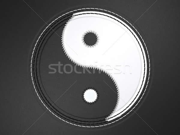 Ying yang stitched symbol on leather Stock photo © Arsgera