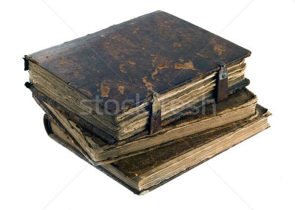 Three Old frayed books isolated Stock photo © Arsgera