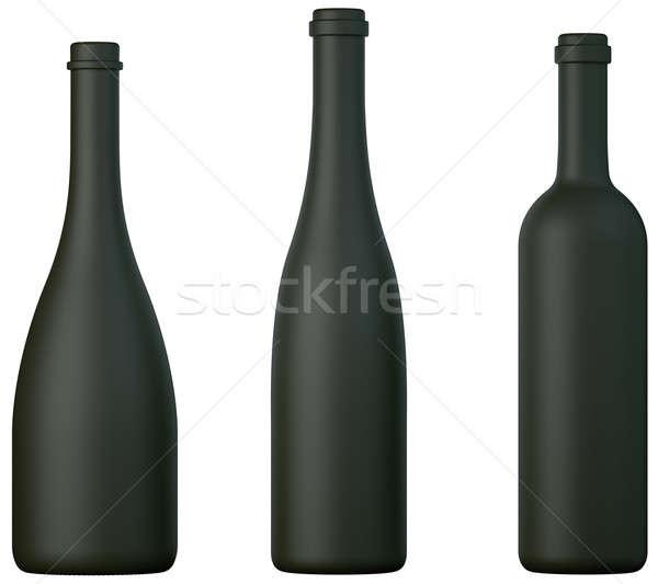 три черный бутылок вино бренди изолированный Сток-фото © Arsgera
