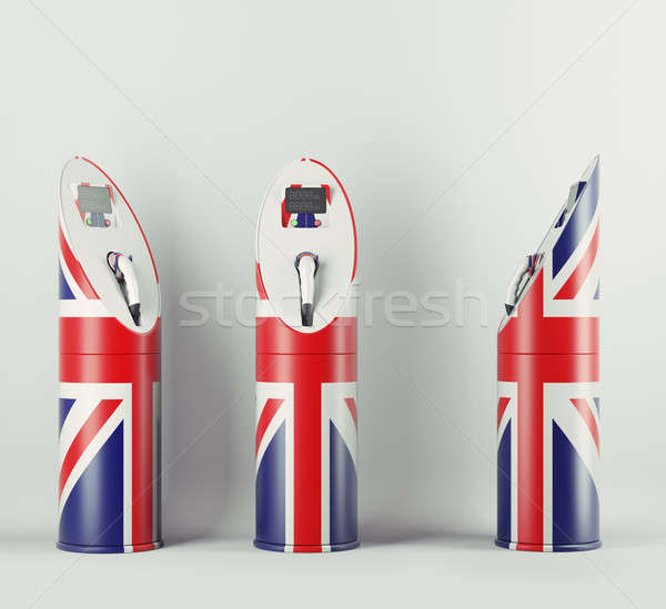 Eco fuel: three charging stations with Union Jack flag pattern Stock photo © Arsgera