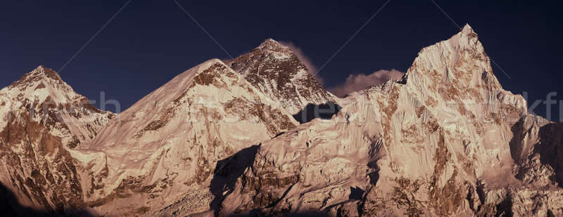 Everest Summit panoramic view with Lhotse and Nuptse peaks Stock photo © Arsgera
