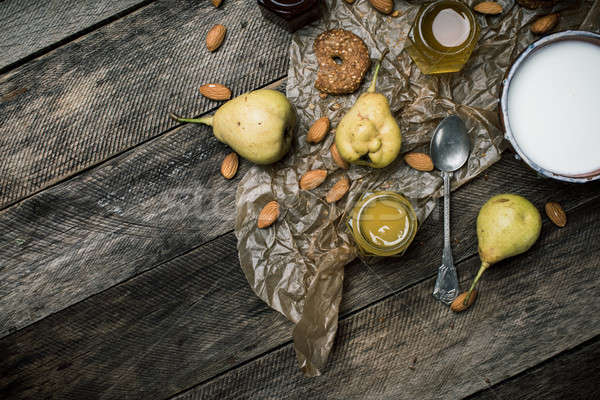 pears Cookies and yoghurt on wooden table Stock photo © Arsgera