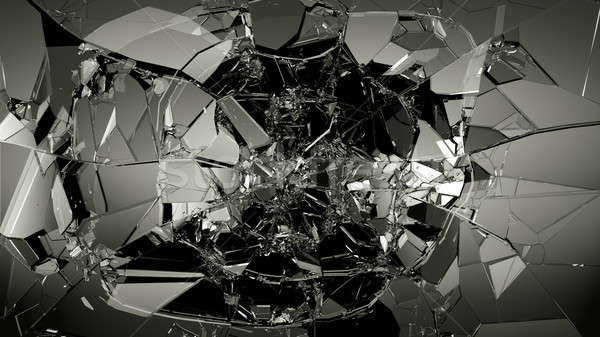 Glass breaking and shatter on black Stock photo © Arsgera