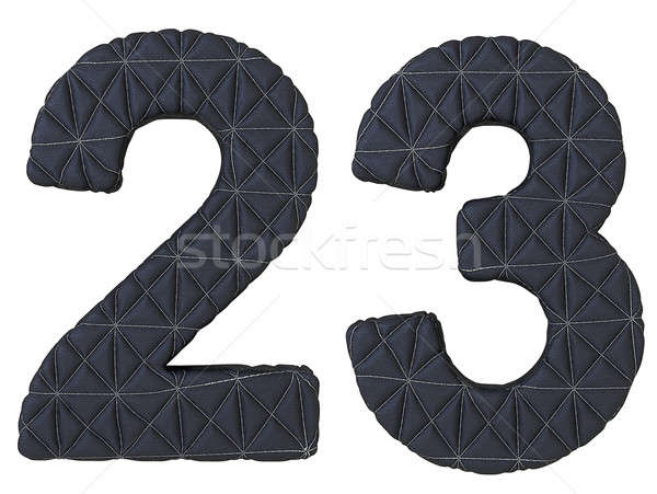 Stitched leather font 2 3 numerals isolated Stock photo © Arsgera