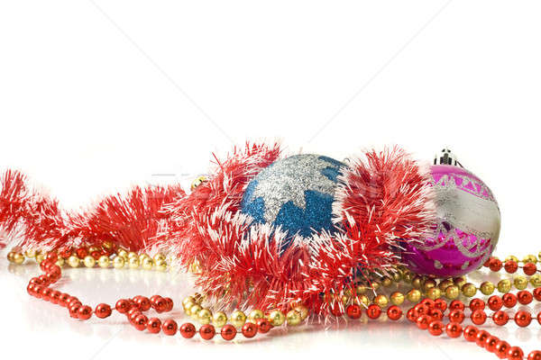 Christmas greetings - decoration baubles and tinsel Stock photo © Arsgera