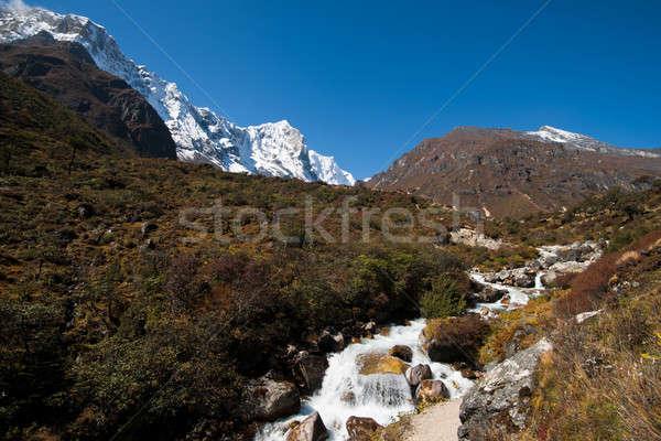 Himalája tájkép folyam ősz égbolt hegy Stock fotó © Arsgera