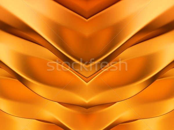 Dourado abstrato simétrico ondas padrão útil Foto stock © Arsgera