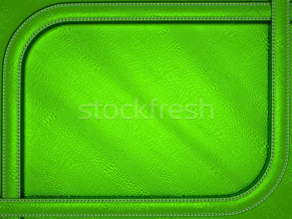 Green mock croc or alligator skin background with stitched patte Stock photo © Arsgera