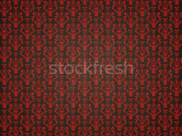 Mock croc background with red victorian ornament Stock photo © Arsgera