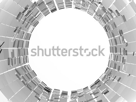 Shattered or demolished glass and hole in the middle Stock photo © Arsgera