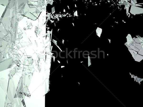 Pieces of Broken Shattered black glass isolated Stock photo © Arsgera