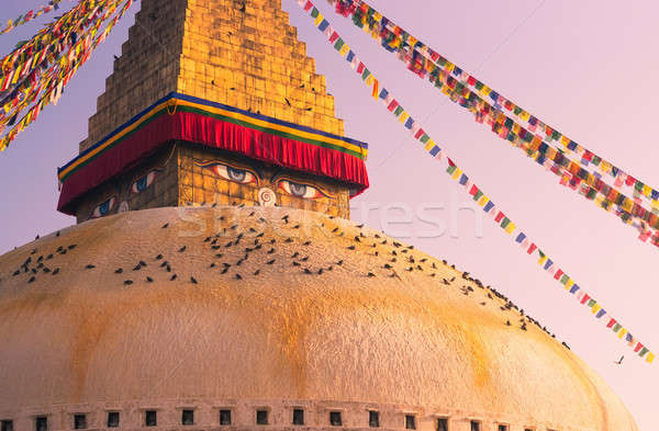 Eyes of Buddha on Boudhanath stupa in Kathmandu Stock photo © Arsgera