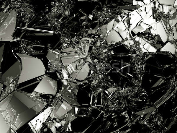 Shattered glass: sharp Pieces on black Stock photo © Arsgera