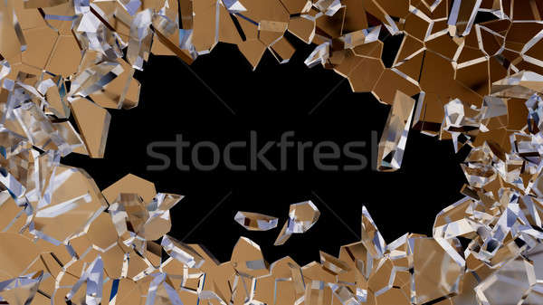 Blue smashed glass pieces isolated on black Stock photo © Arsgera