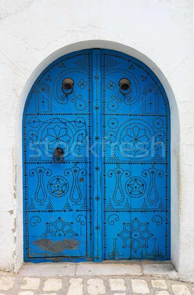 Azul tradicional porta parede rua janela Foto stock © Arsgera