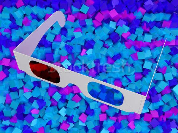 Foto stock: Moderno · cinema · óculos · 3d · colorido · olho