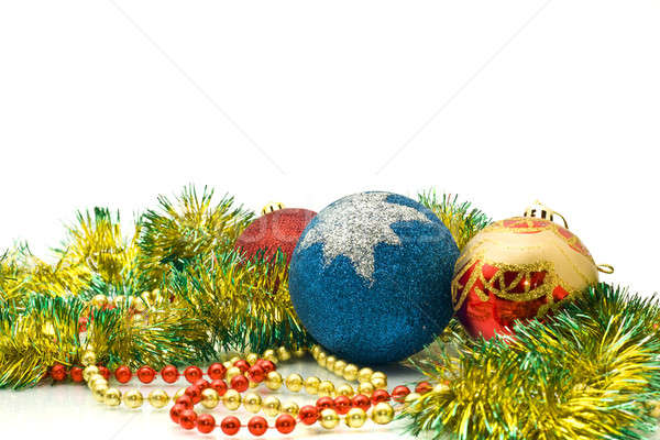 Christmas Decoration - colorful tinsel and balls Stock photo © Arsgera