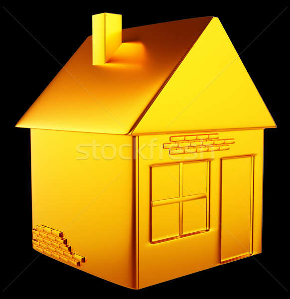 valuable accommodation: golden house shape  Stock photo © Arsgera