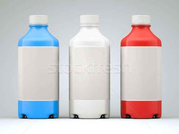 Három színes üvegek vegyszerek drogok szürke Stock fotó © Arsgera