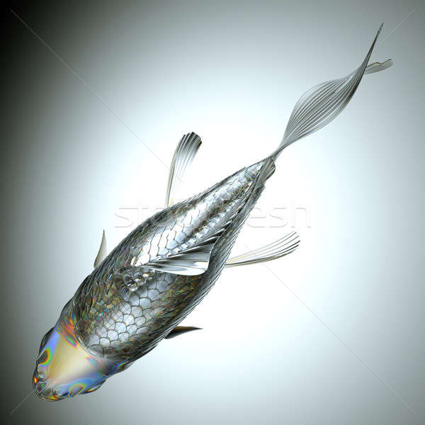 Top view of glass fish over grey Stock photo © Arsgera