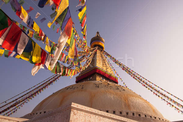 Prayer flags and Boudhanath stupa in Kathmandu Stock photo © Arsgera