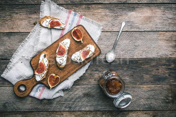 Bruschetta aperitivos atasco servilleta desayuno almuerzo Foto stock © Arsgera