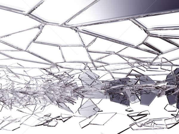 Broken and cracked glass on white Stock photo © Arsgera