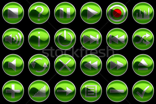 Round green Control panel buttons Stock photo © Arsgera