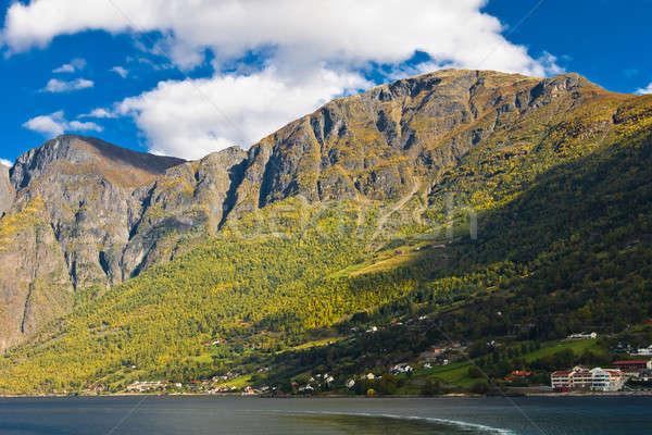 Norwegian fjords: Mountains, blue sky Stock photo © Arsgera