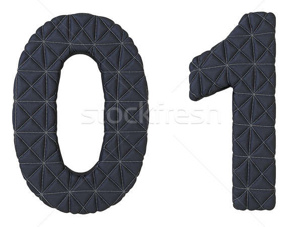 Stock photo: Stitched leather font 0 1 numerals
