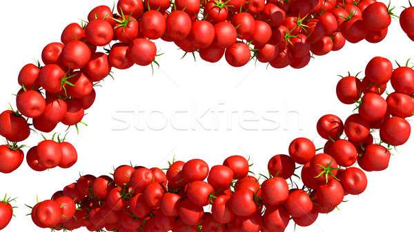 Red Tomatoe Cherry flows on white Stock photo © Arsgera