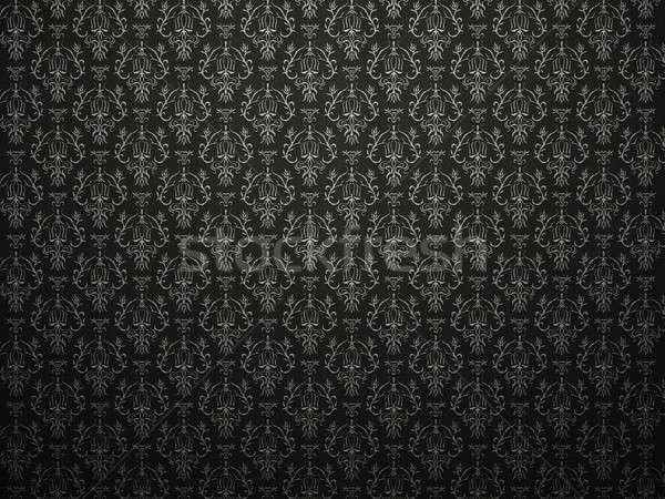 Alligator skin black background with impression victorian patter Stock photo © Arsgera