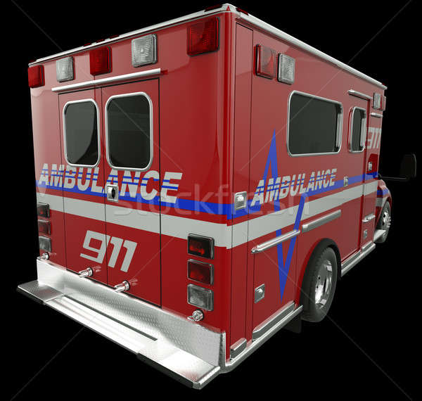 Ambulance: Rear view of emergency services vehicle on black Stock photo © Arsgera